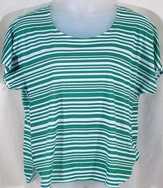 Chicos 3 Top HIgh Low Green Stripe #Chicos #KnitTop #Casual