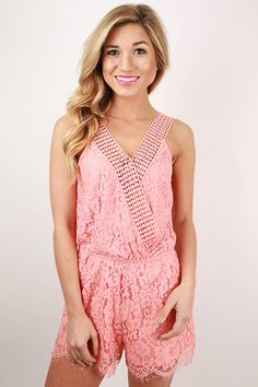 This cutie is the perfect little romper for the season! We love the delicate lace detail and scoop back that makes it so flirty and fun!