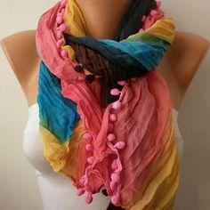 Rainbow Women Shawl Scarf  Headband Necklace Cowl by fatwoman, $13.50