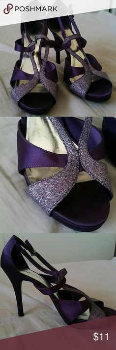 Purple Glitter Heels Worn twice. Still in great condition. Willing to take reasonable offers. Fioni Night Shoes Heels