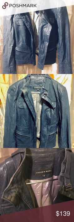 """Andrew Marc Blue Leather Scuba Style Jacket Mold into this sexy and softly, tuff Andrew Marc Blue Leather Scuba Style Jacket (Medium).   This """"takes no sh$@"""" biker chick style jacket is in a faded, and almost dusty, vintage deep blue with a shimmering sterling inside. It has been gently used, and no longer fits its original rider. This unique head turner was purchased new with a sleek/broken-in/worn look, and now bares that plus genuine extra, as happens when it embarks on its rider's back…"""