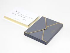 Mulberry corporate design   stationary   management note cards and envelopes   gold on white and grey   designed by Construct London