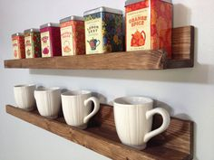 Our Rustic Wooden Coffee & Tea Shelves save counter/cabinet space & creates an eye catching display for your kitchen. Its not only stunning,