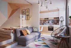Кухню и столовую отделили от гостиной лишь небольшой перегородкой с оригинальной мозаикой из дерева. Визуально это разделяет пространства, но не перекрывает их полностью.  #Living_Room #Interiors http://goodroom.com.ua/mag/kak-obustroit-40-kvadratov-primer-kvartiry-vo-lvove/