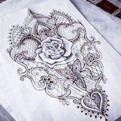 ◍┄drαωïηg┄◍♦dAǸ†㉫♦ Lace rose baroque mantra tattoo sketch woman Key Tattoos, Love Tattoos, Body Art Tattoos, Tattoos For Women, Tatoos, Pretty Tattoos, Beautiful Tattoos, Mantra Tattoo, Hand Tattoo