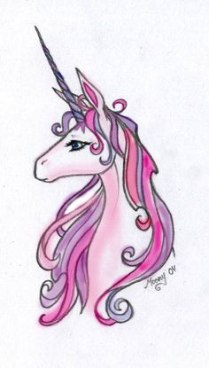 Pink-And-Purple-Unicorn-Tattoo-Design-By-Gjoko-Krstic.jpg (489×861) | Beautiful Cases For Girl