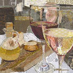 """Balanced"" 14 x 14 Torn Paper Collage Althea Sassman ArtAlthea.com"