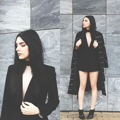 Holynights Claudia - Zaful Coat, Frontrowshop Shorts, Little Mistress Ankle Boots - Suited up