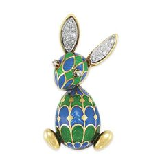 Gold, Green and Blue Enamel and Diamond Rabbit Brooch, Van Cleef & Arpels