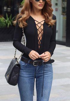 Black Lace-Up Knit Bodysuit