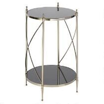 X-Sided Glass/Metal Round End Table