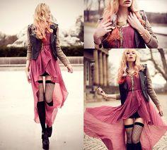 mullet skirt pink dress  rocker