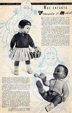 PAR AMOUR DES POUPEES :: M&T 1957-08 pull-polo et jupe plissée pour Françoise et cardigan pour Michel (couture et tricot)