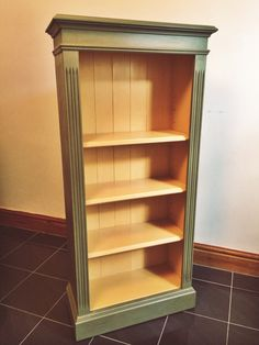 Bookcase handpainted in Annie Sloan Olive and Arles Chalk Paint