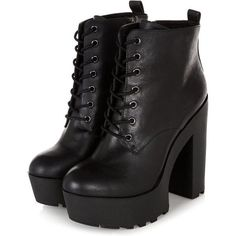 Black Chunky Platform Lace Up Block Heel Boots (£18) ❤ liked on Polyvore featuring shoes, boots, ankle booties, heels, zapatos, chunky black booties, block heel booties, heeled booties, lace up heel booties and block heel boots