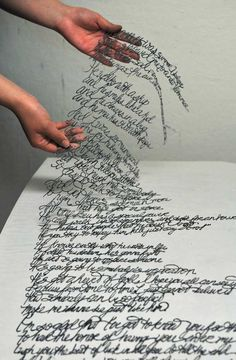 Embroidered Song by Antonius Bui Like a lace words, Antonius Bui has carved this text into something solid, converting senses; hearing becomes sight. Words, thus fly from paper, not by the sound, but as sculpture.