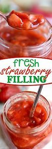 Fresh Strawberry Filling-You & re going to want to put this in and on everything: cakes cupcakes crepes pancakes cinnamon rolls you name it! (Hint: It also makes a delicious ice cream topping! Strawberry Filling, Strawberry Recipes, Fruit Recipes, Cooking Recipes, Strawberry Delight, Strawberry Tree, Strawberry Cupcakes, Recipies, Cake Filling Recipes