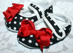 Baby Shoes - ADORABLE Black & White Polka Dot, SWEET Red Bow ...in 4 different infant sizes. $10.95, via Etsy.