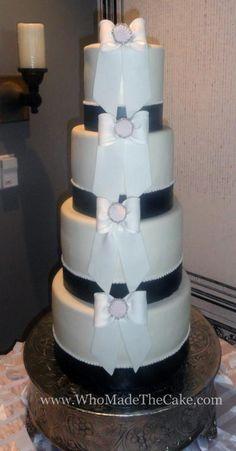 Elegant black, white & pink bridal shower cakes