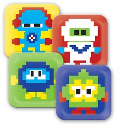 Talk about Throw Back Thursday. These kids plates we did a few years back. Looks like we were ahead of the 8bit trend.