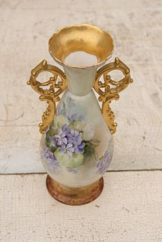Limoges STYLE Hand Painted Vase With A Floral Motif And Gold Trim. For me to enjoy