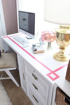 Love the Pink and White Desk! I'm thinking pink swirly stencil on top and white desk! mmmm yes!