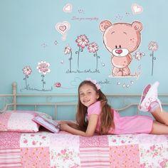 Walplus Samolepka na zeď Růžový medvídek, 120x80 cm