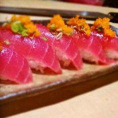 Tuna nigiri with Masago! Breakfast of champions!!! #tuna #maguro #nigiri #sushi #follow #amazing #instadaily #instamood #instagood #igers #sashimi #culinary #sushichef #whatwedo #breakfast #colors #foodporn #foodgasm #ponzu #rice