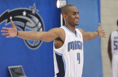 Orlando guard Arron Afflalo poses for pictures during Orlando Magic Media  Day at the Amway Center on Monday 79a441c2a