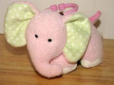 Carters Pink Musical Elephant Just One Year Baby Girls Toy Teether 6in.  #JustOneYear