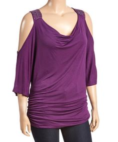 Another great find on #zulily! Purple Embellished Cutout Top - Plus #zulilyfinds