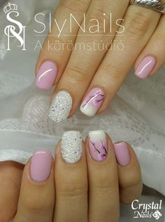 SlyNails nail studio. Nail art by Szilvia Balázsi. Swarovski Crystal pixie Cherry blossoms