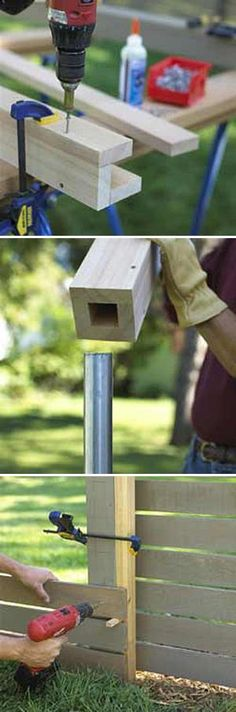I like hiding a sturdier metal post inside a fabricated wood post, then attaching the remainder of the fencing to it. Great for high wind areas. # diy dog park inside Easy DIY Fences - How to Build a Fence! Diy Fence, Backyard Fences, Backyard Projects, Outdoor Projects, Garden Projects, Wood Projects, Outdoor Decor, Wooden Fence, Backyard Ideas