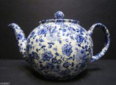 1 Heron Cross Pottery Small Blue Flowers Chintz English 3 Cup Tea Pot or 2 Mugs | eBay
