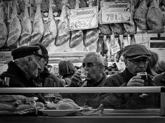 This is real Madrid. Old men drinking canyas standing at the bar surrounding by jamon serrano. Brilliant.