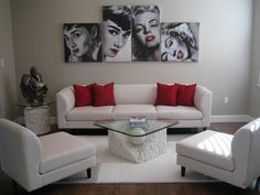 Love this idea with the pics and love the modern feel of this room but yet classic.