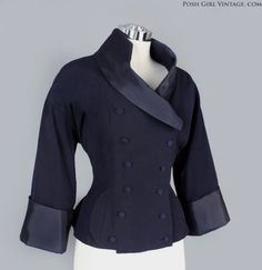 1950s Blue Fitted Jacket Mid Century :
