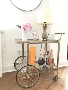 New entry at home.  Vintage tea wagon. Filled up with all you need. #interior #teawagon #vintage #ebay #cologne #koeln #germany @silvie_de_cologne