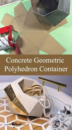 Concrete Geometric Polyhedron Container With Pattern–madebybarb FeatureMake this Concrete Geometric Polyhedron using the super simple free pattern that is cut from vinyl tile and poured with rapidset concrete.Make this reusable mould and cast your Diy Concrete Planters, Cement Pots, Concrete Molds, Concrete Crafts, Concrete Art, Concrete Projects, Diy Planters, Succulent Planters, Succulents Garden