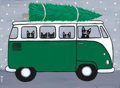 Green VW Bus Christmas Cats Original Folk Art Painting by KilkennycatArt