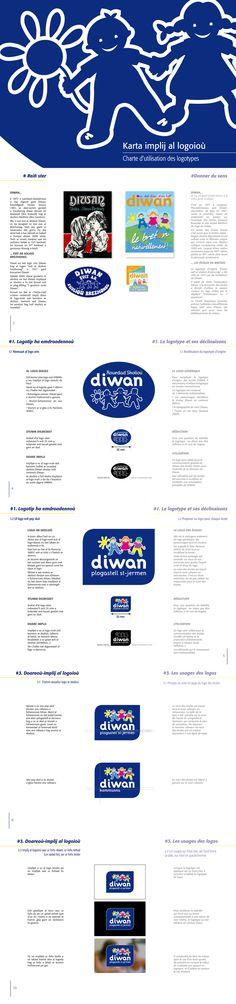 Refonte logo des écoles Diwan (Réseau d'écoles billingues breton/français) - Extrait de charte graphique (design Owen Poho)