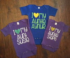 DISCOUNT code ANNABELLE15 on all Vazzie Tees purchases www.etsy.com/shop/vazzietees  I love my Aunt Baby Bodysuit I heart my Auntie by VazzieTees