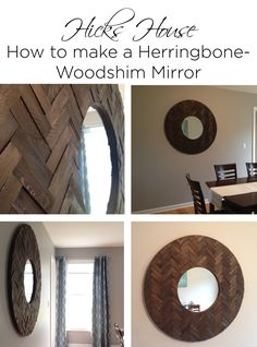 Herringbone Woodshim Mirror