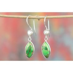 Fashionable 925 Sterling Silver Gemstone Green Turquoise Earring for... via Polyvore featuring jewelry, earrings, blue turquoise earrings, turquoise earrings, sterling silver gemstone jewelry, green gemstone earrings and gem jewelry