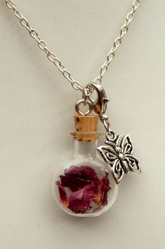 Noble glass vial necklace with dried rose petals, rose necklace