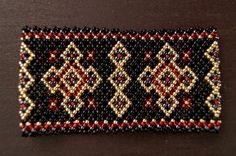 Black-gold-rubin big Carpathian bracelet by ArtFromKryg on Etsy