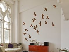 Binary Box Flock of Birds Wall Stickers in Light Brown Wall Stickers Birds, Bird Wall Decals, Wall Art, Stencil Stickers, Wall Vinyl, Bird Bedroom, Noguchi Coffee Table, Flock Of Birds, Flying Birds