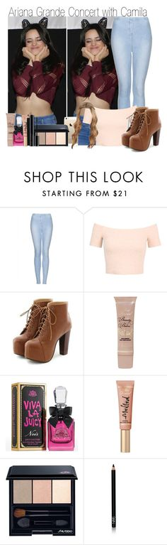 """Ariana Grande Concert with Camila"" by sleepwalkiing ❤ liked on Polyvore featuring Topshop, Miss Selfridge, Miss Dora, Too Faced Cosmetics, Juicy Couture, Shiseido, NARS Cosmetics and Giorgio Armani"