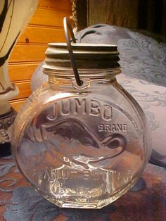 Jumbo Brand 2lb Peanut Butter Jar, have one like this from Grandma, I don't have the handle, she kept popcorn in it...