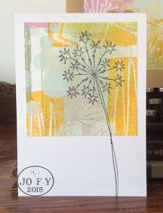 Jo Firth-Young Card created with Gelli® printed masterboard PaperArtsy Fresco Finish paints JOFY stamps (JOFY38)